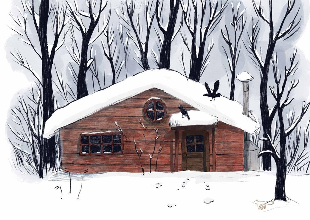 Mareike Ammersken Schnee Snow Cabin in the woods Hütte Häuschen