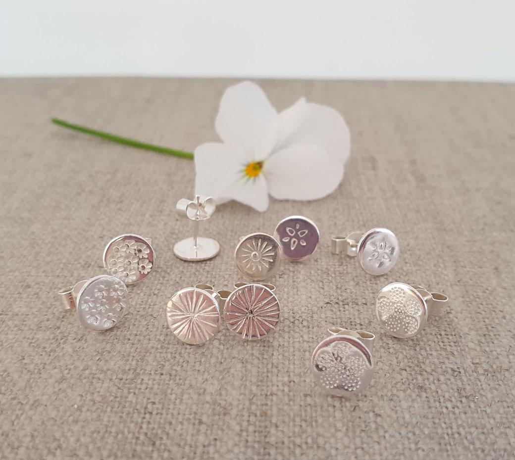 handmade small silver studs