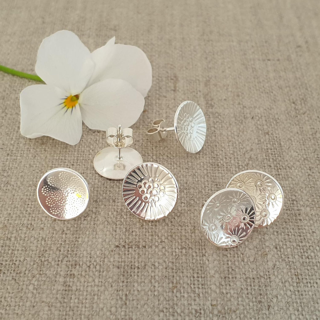 handmade large silver stud earrings