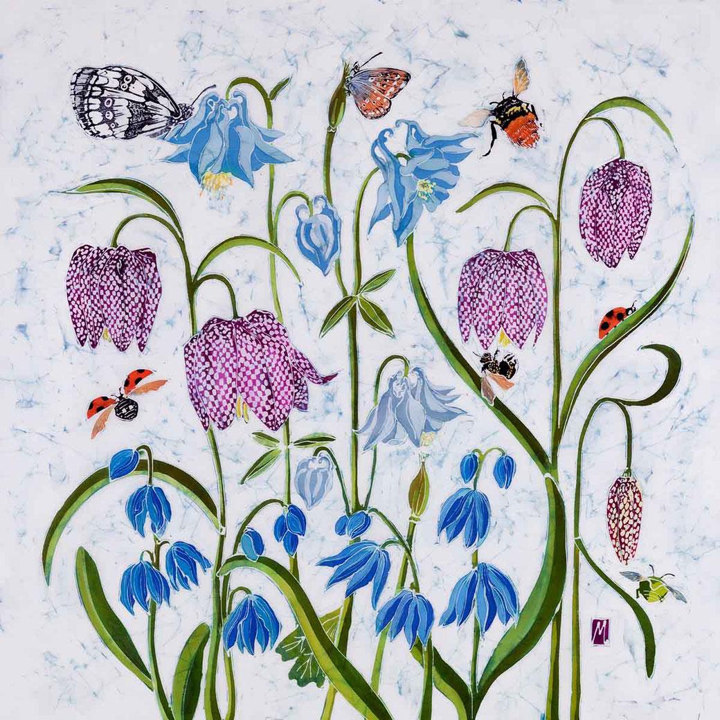 snakeshead fritillaries fritillaria fritillary floral flower batik fine art print purple blue