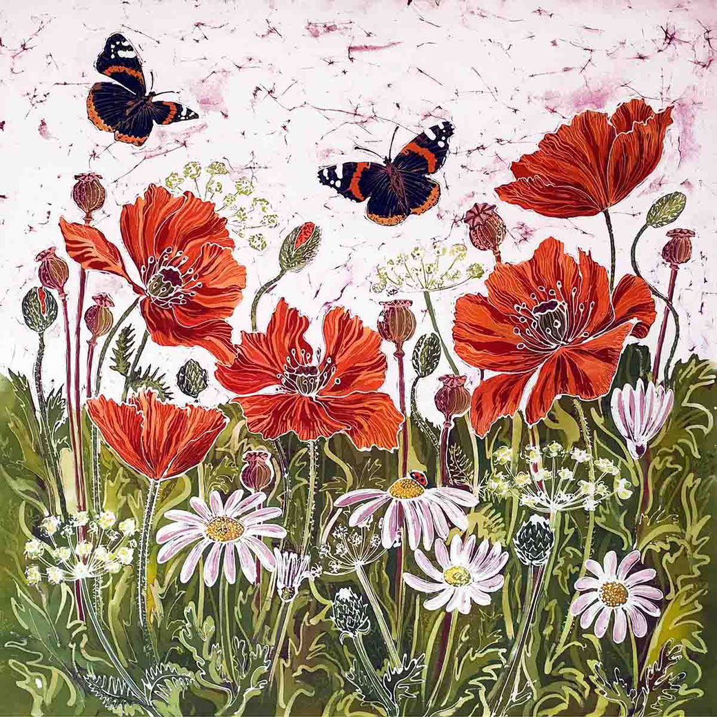 Red Admirals and poppies poppy field red flower botantical art butterfly batik painting print