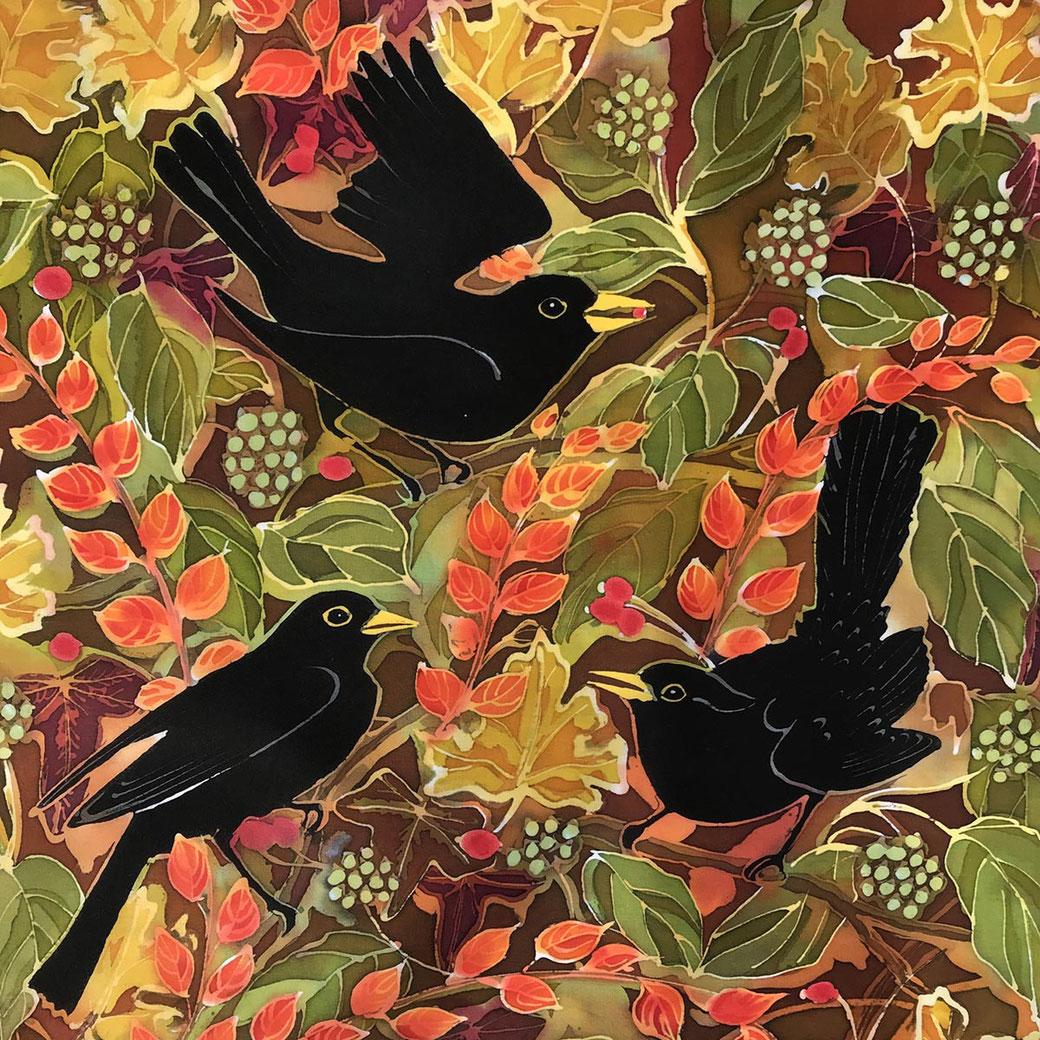 Autumn Blackbirds english winter garden bird scene fine art batik print