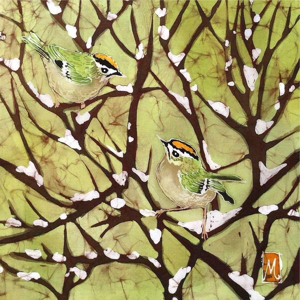 Goldcrests on snow winter english garden bird print picture painting