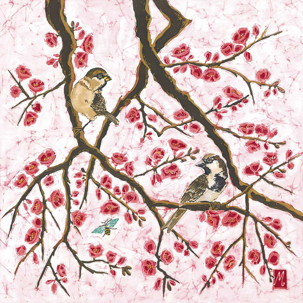 english garden bird sparrows oriental japanese japonica fine art print