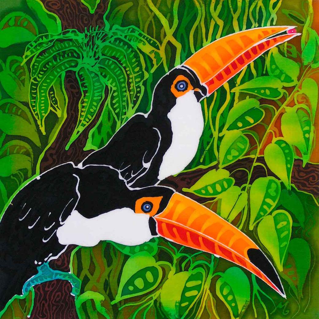 Toucan tropical colourful colorful exotic bird art print batik painting twitcher birder