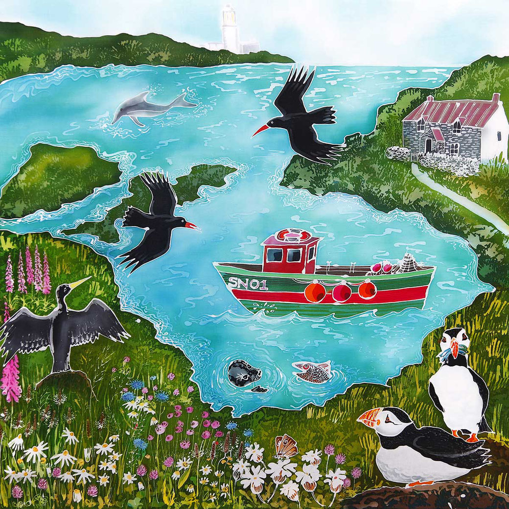 Pembrokeshire seaside bay coastal fine art print puffins fishing boat sea bird picture bird lover twitcher birder gift