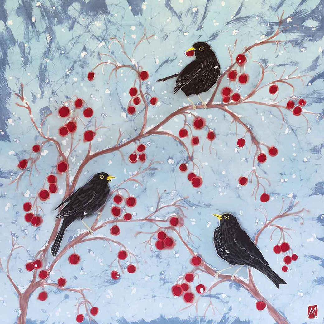 blackbirds on red crabapples winter snow scene English garden bird lover twitcher birder