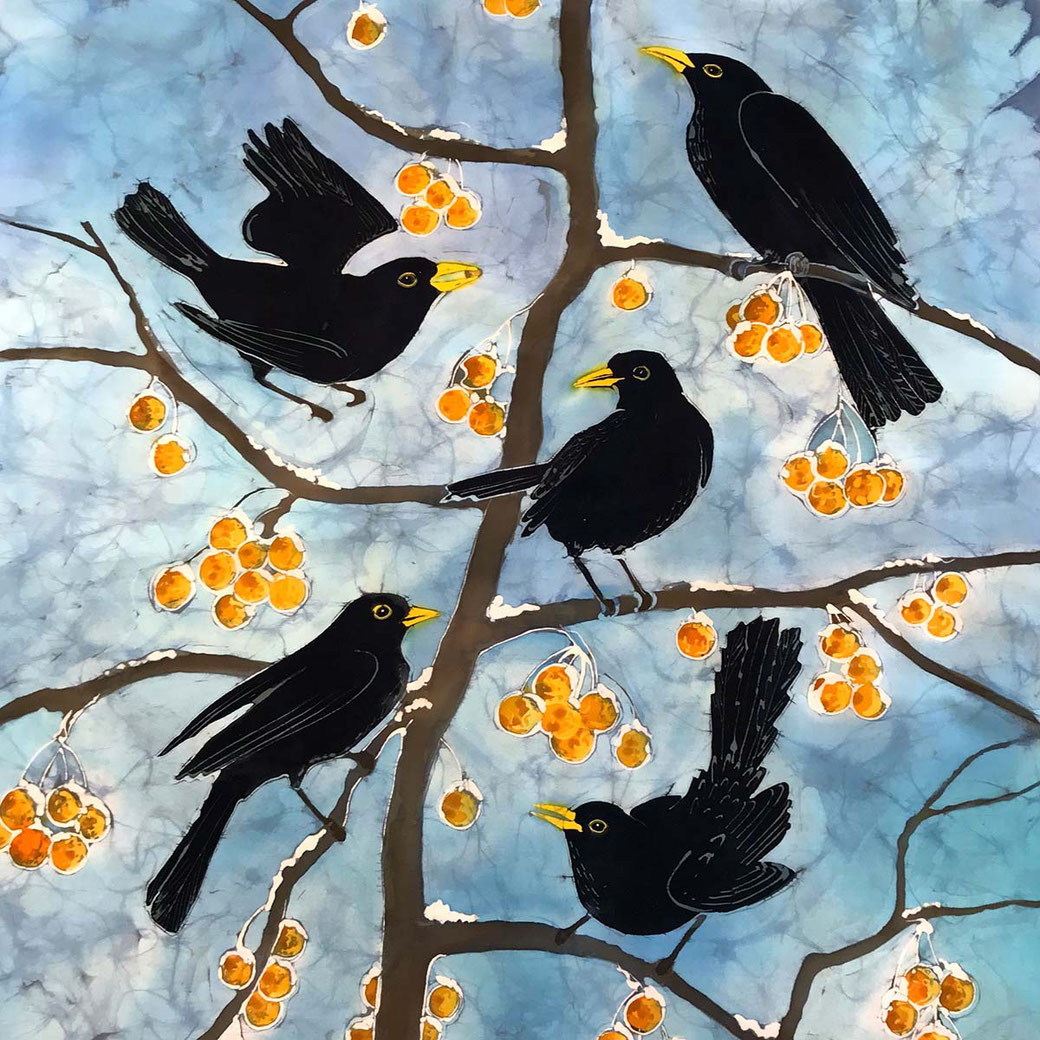 Blackbirds feeding on yellow crabapples fine art print from original batik painting