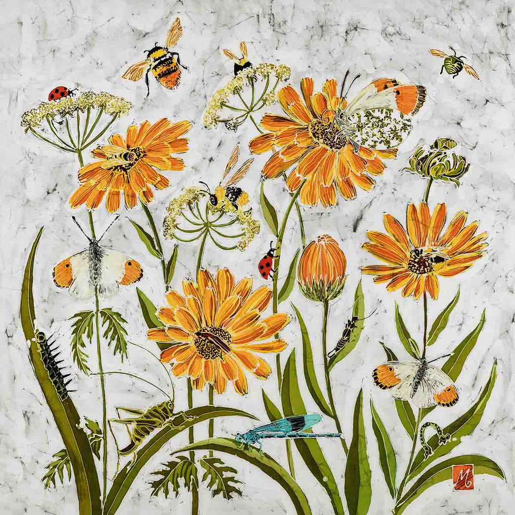 fleur de calendule calendula english marigold orange floral flower fine batik art print