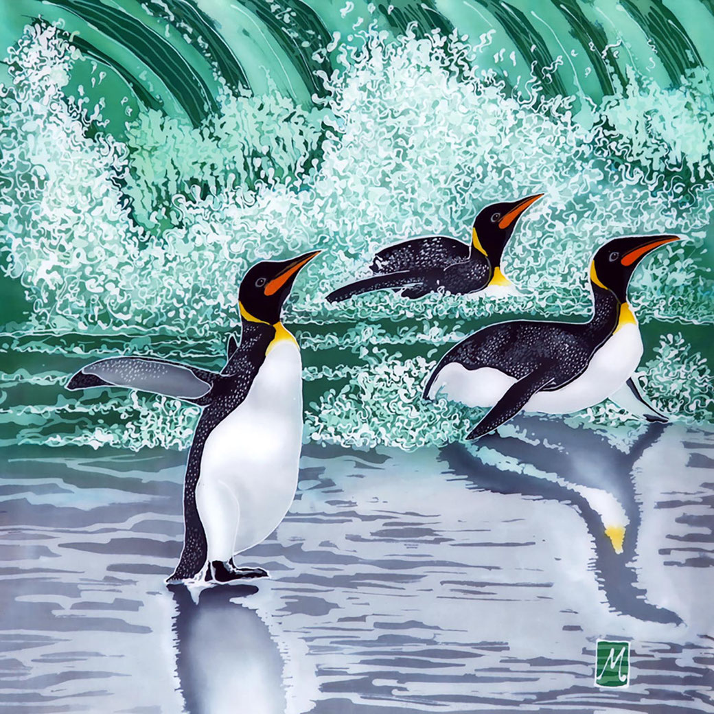 penguin trio green jade sea surf waves fine art batik painting print exotic bird lover twitcher birder