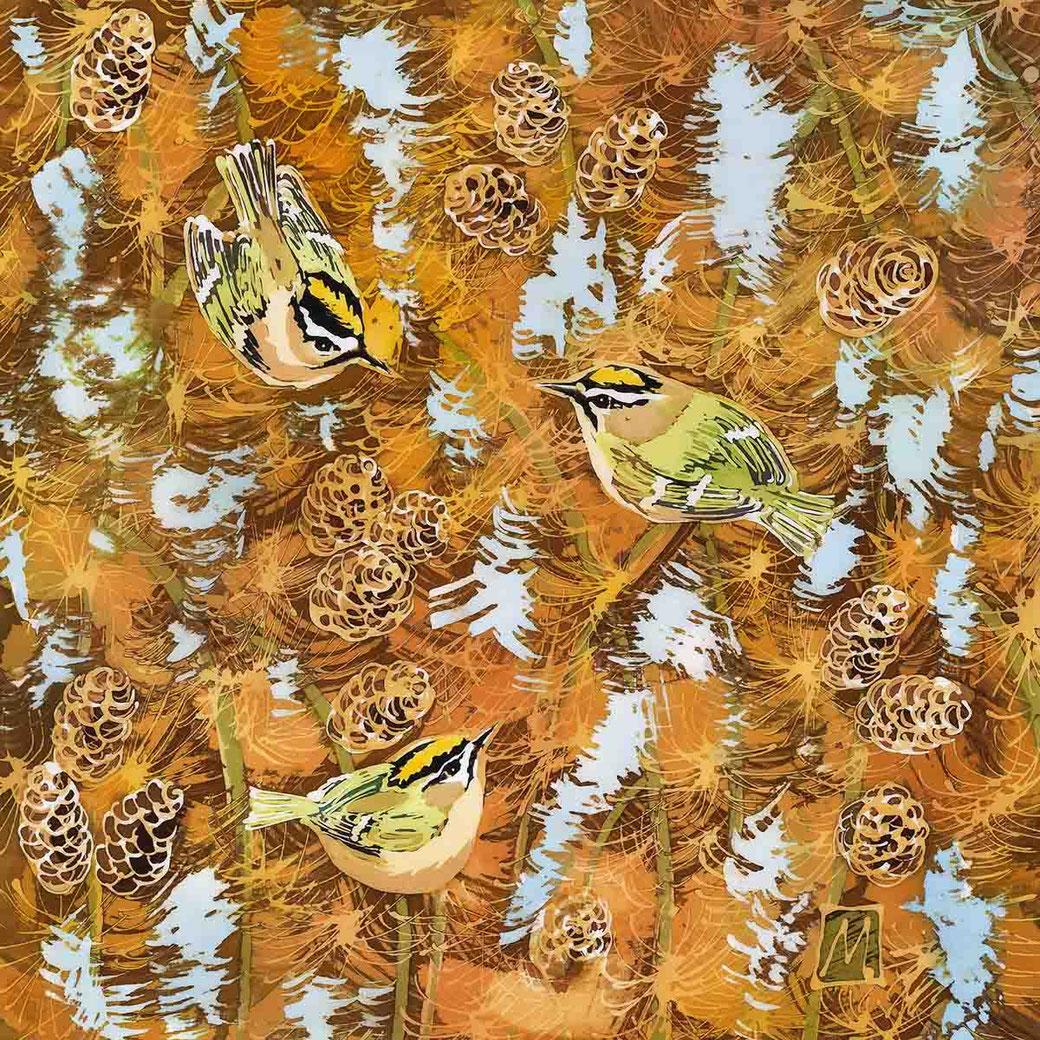 goldcrest firecrest larch fine art print batik painting birdlover twitcher orange autumn