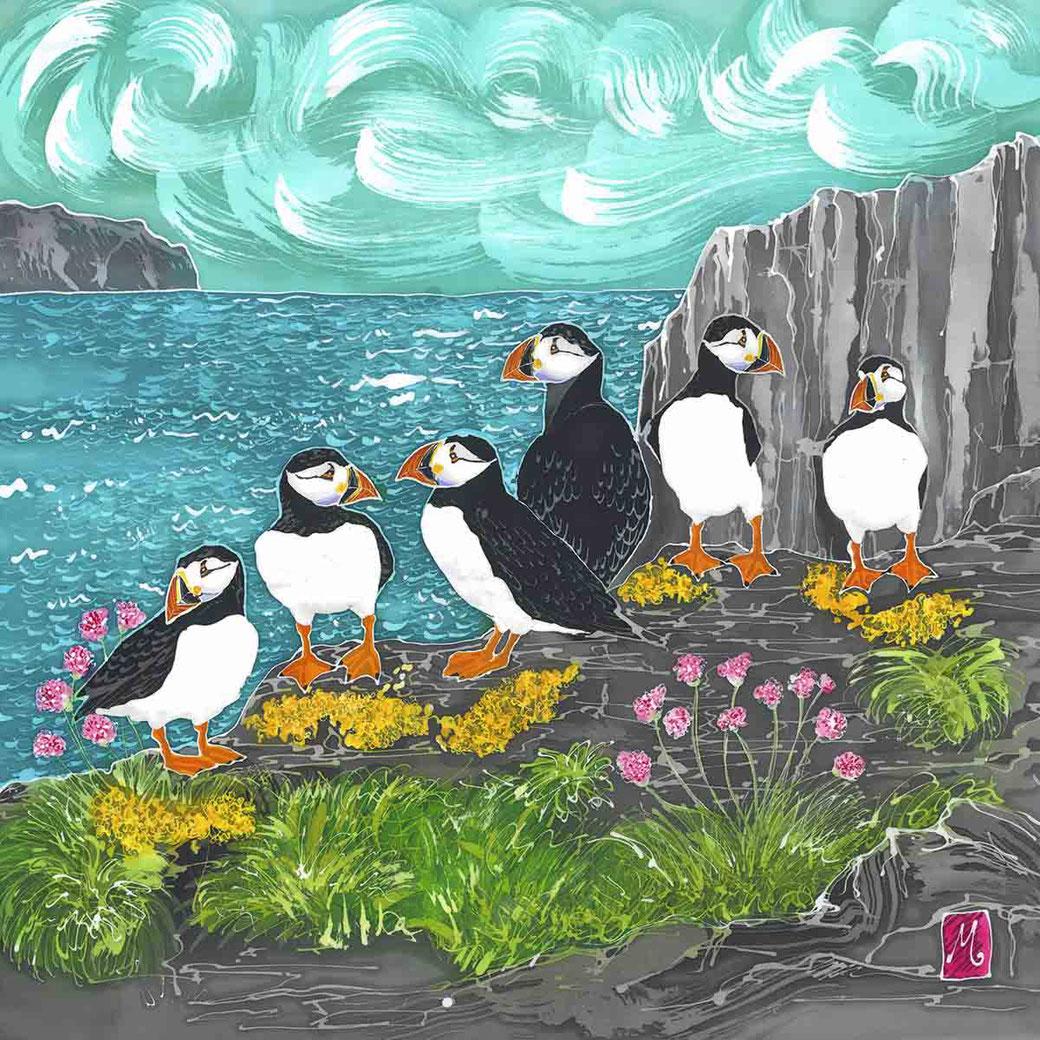 Skomer Island puffins print coastal bird sea bird scene picture bird lover twitcher birder gift