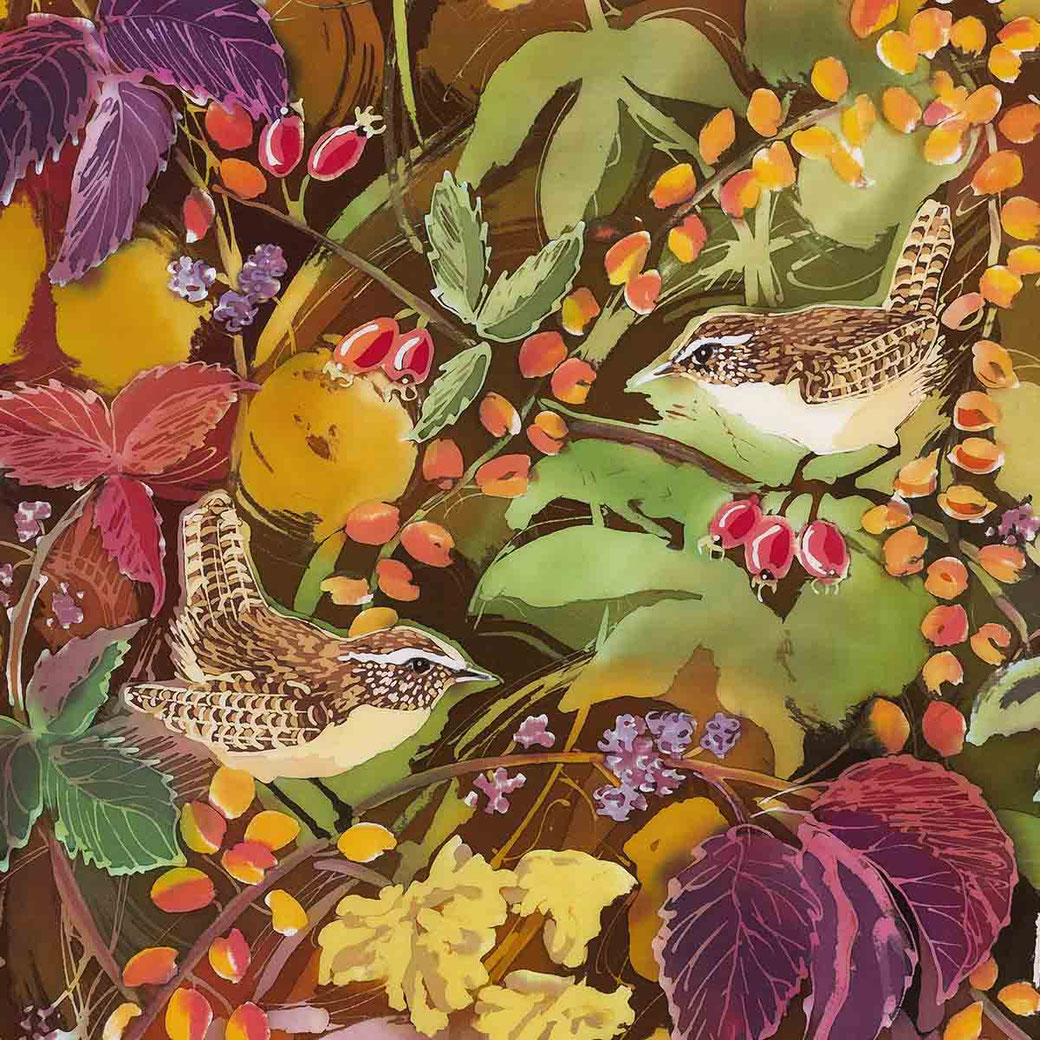jenny wrens autumn English garden bird fine art print
