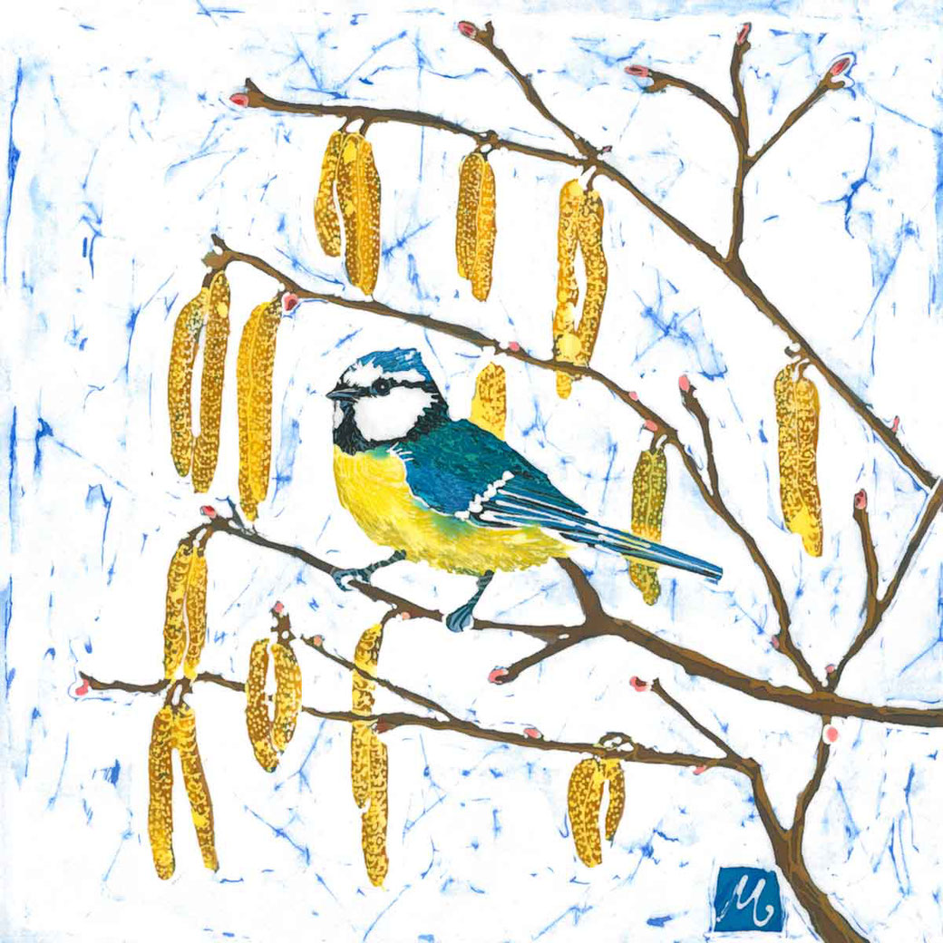 tom tit batik painting fine art print inspired by nature bird lover twitcher birder