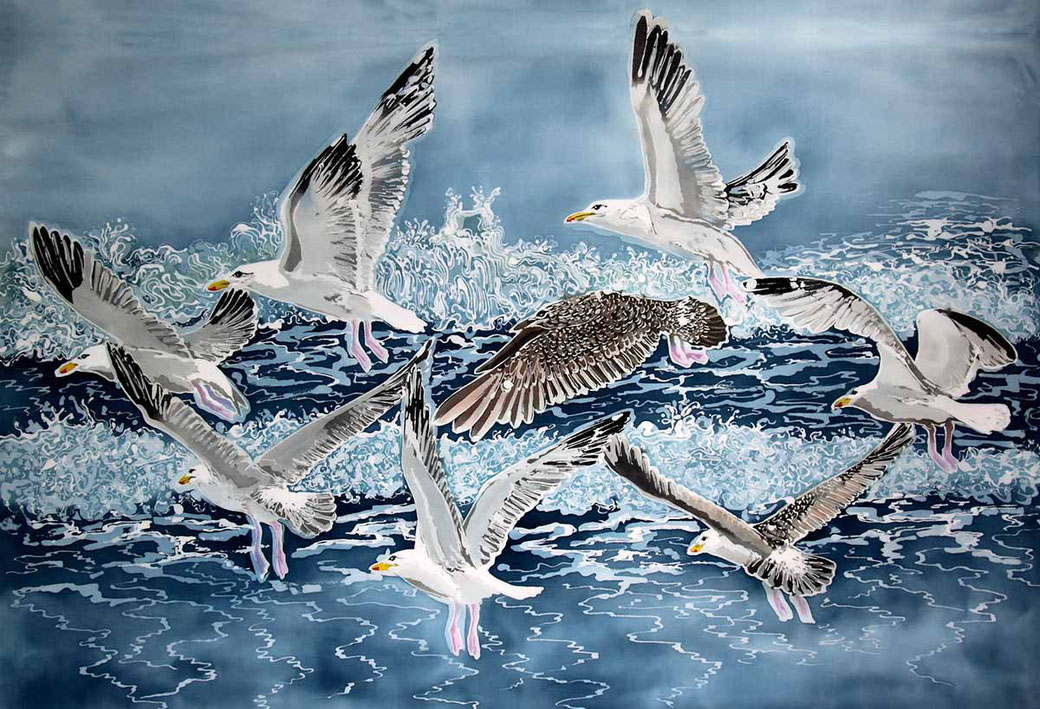 Shell Island Seagulls coastal seaside bird batik art print