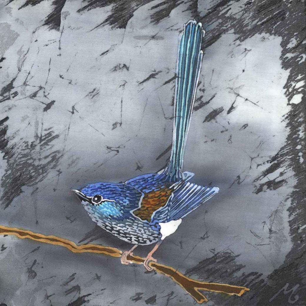 Blue Wren exotic fairy wren bird art print batik painting australian