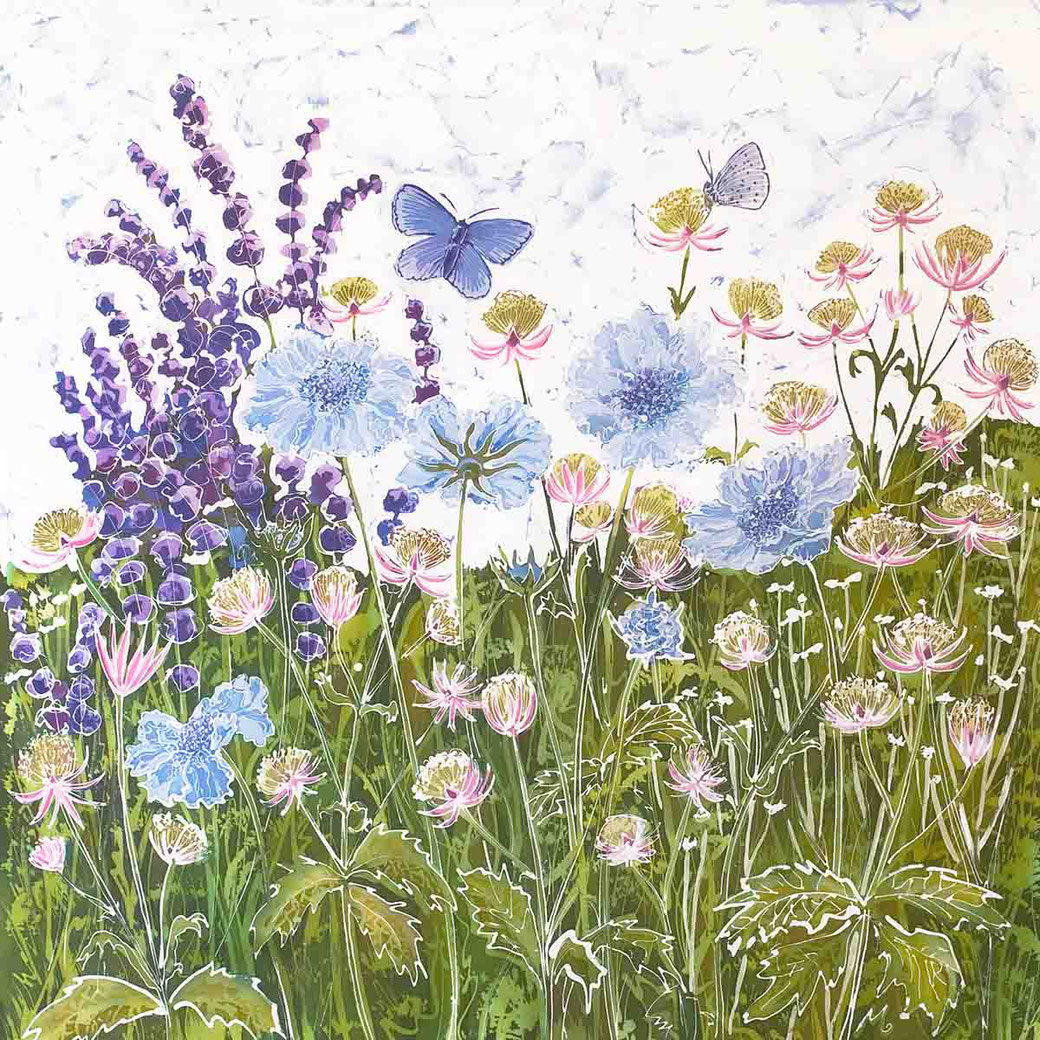 Meadow blues scabious astrantia blue butterfly botanical fine art wall decor flower lover english garden summer flowers