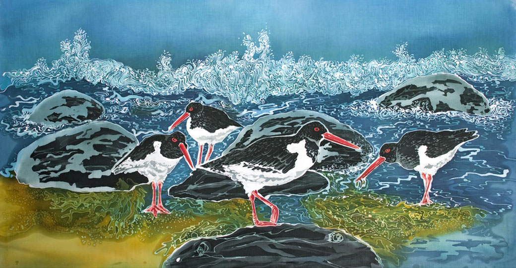 shell island oystercatchers fine art print coastal scene twitcher birder bird lover print