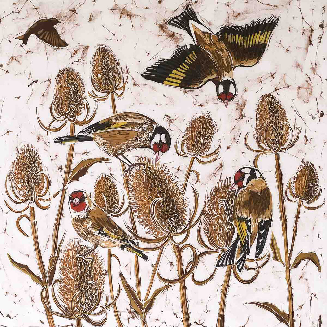 charm of goldfinches in brown teasils brown fine art english garden bird print