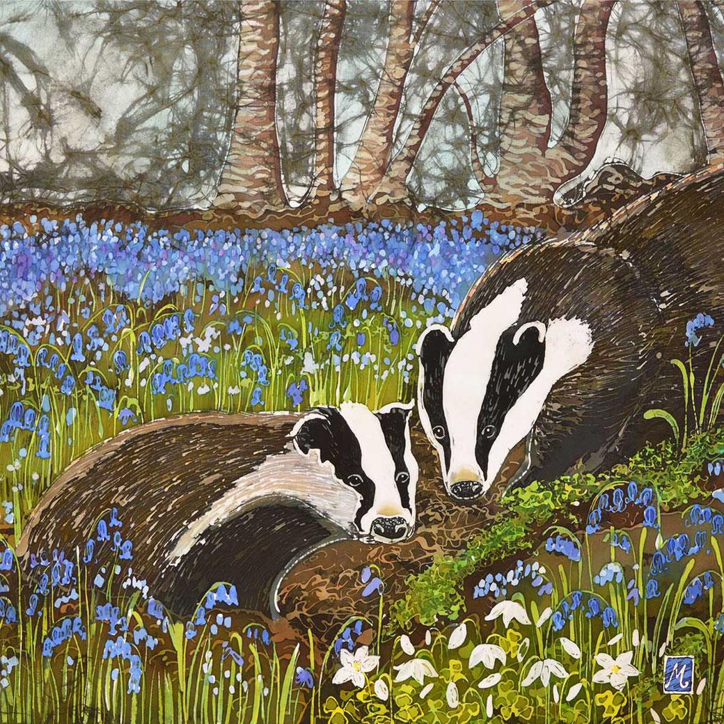 badger wall fine art print woodland animal bluebells batik painting nursery british countryside