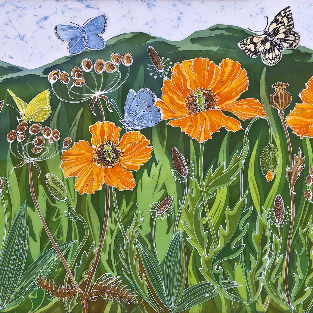 welsh poppies print malvern hills summer meadow orange flower nature yellow blue marbled butterfly
