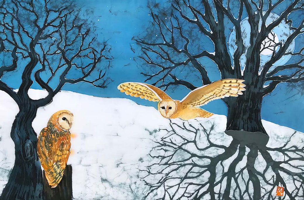 Barn Owls In Full Moon Shadows fine art print from an original batik painting
