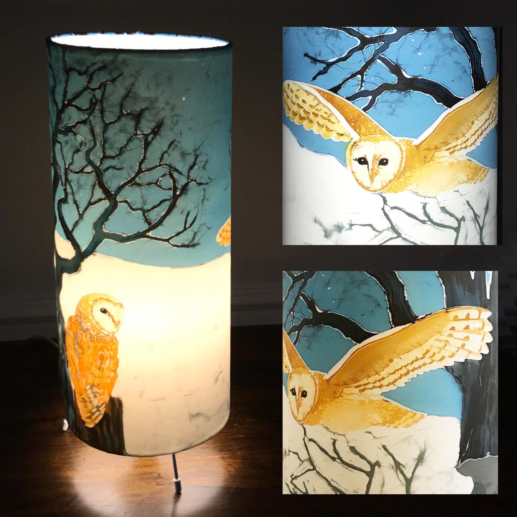Barn owl tall table lamp bedside ambient mood lighting interior decor bird lover twitcher snow scene