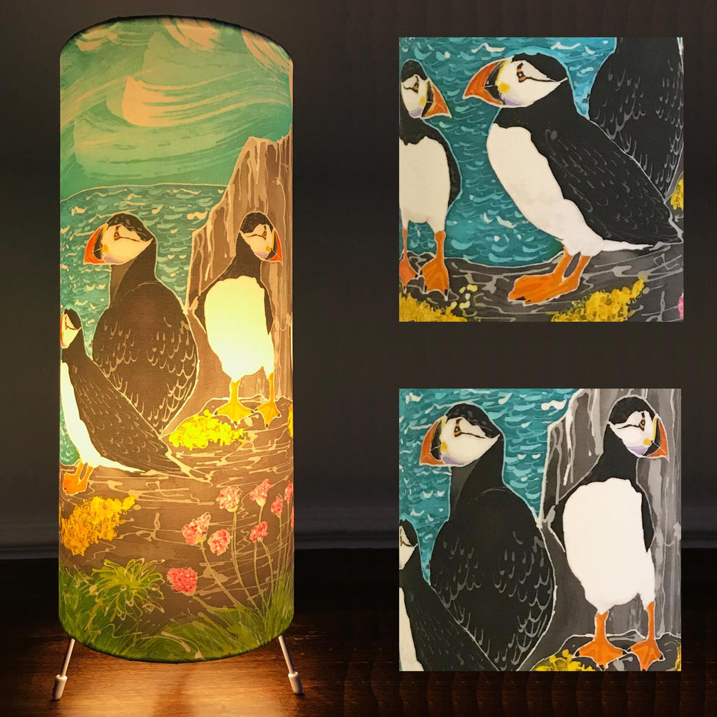 skomer island puffins tall table lamp bedside ambient mood lighting interior decor bird lover twitcher childrens seaside scene