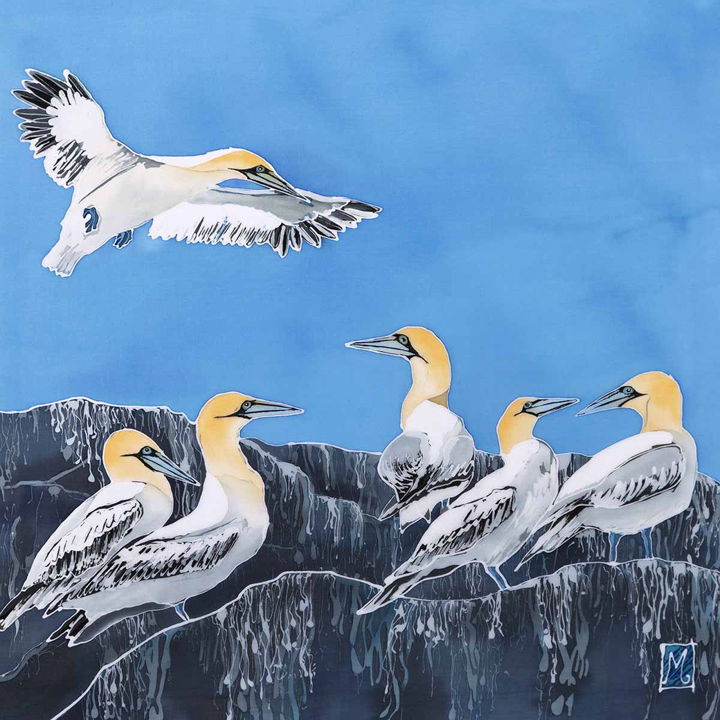 Grassholm northern gannets batik painting print sea bird fine art bird lover twitcher gift