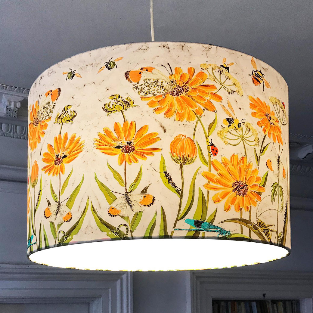 fleur de calendule lampshade ceiling pendant shade light cow parsley orange flowers
