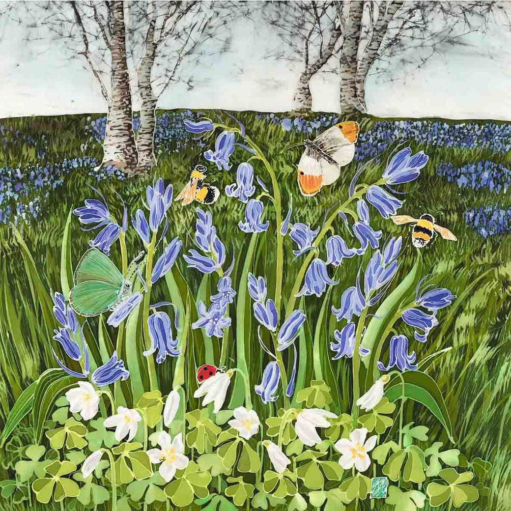 bluebells on the malverns malvern hills worcestershire meadows woods butterflies botanical fine art batik print