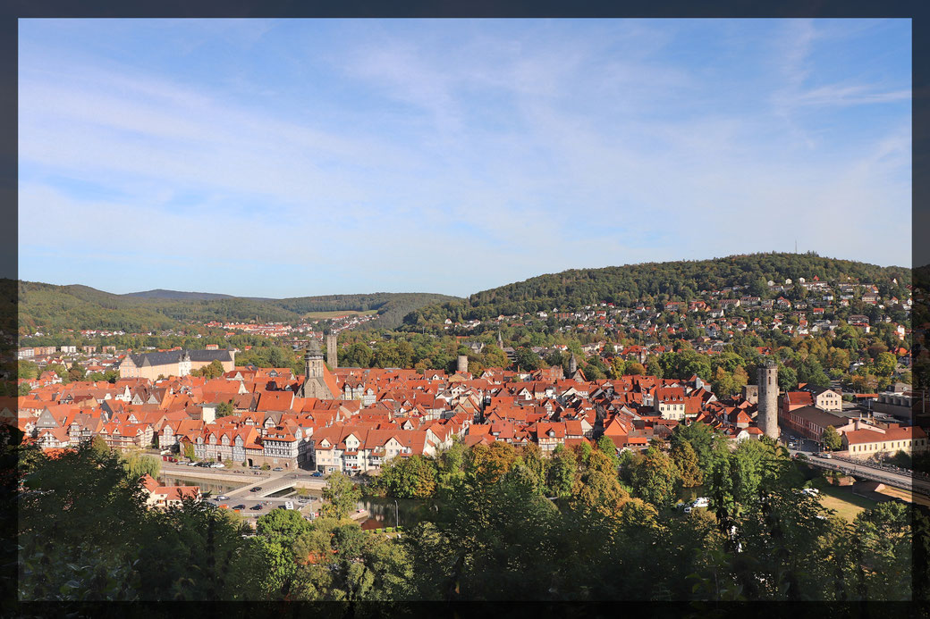 Aufstieg zur Tillyschanze-Ausblick auf die Altstadt von Hann. Münden