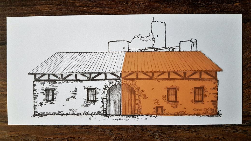 Blankenberger Mühle: Galerie auf der rechten Seit, hier farblich herausgestellt, Verkaufsfläche auf der linken Seite und Biergarten mit Mühlrad rückseitig