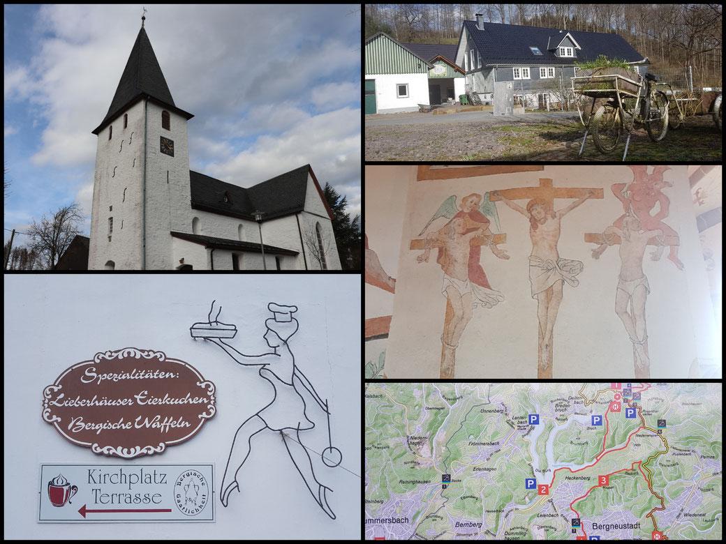 Kleine Collage aus Lieberhausen, Spezialitäten, Wandertafeln und die Bonte Kerk
