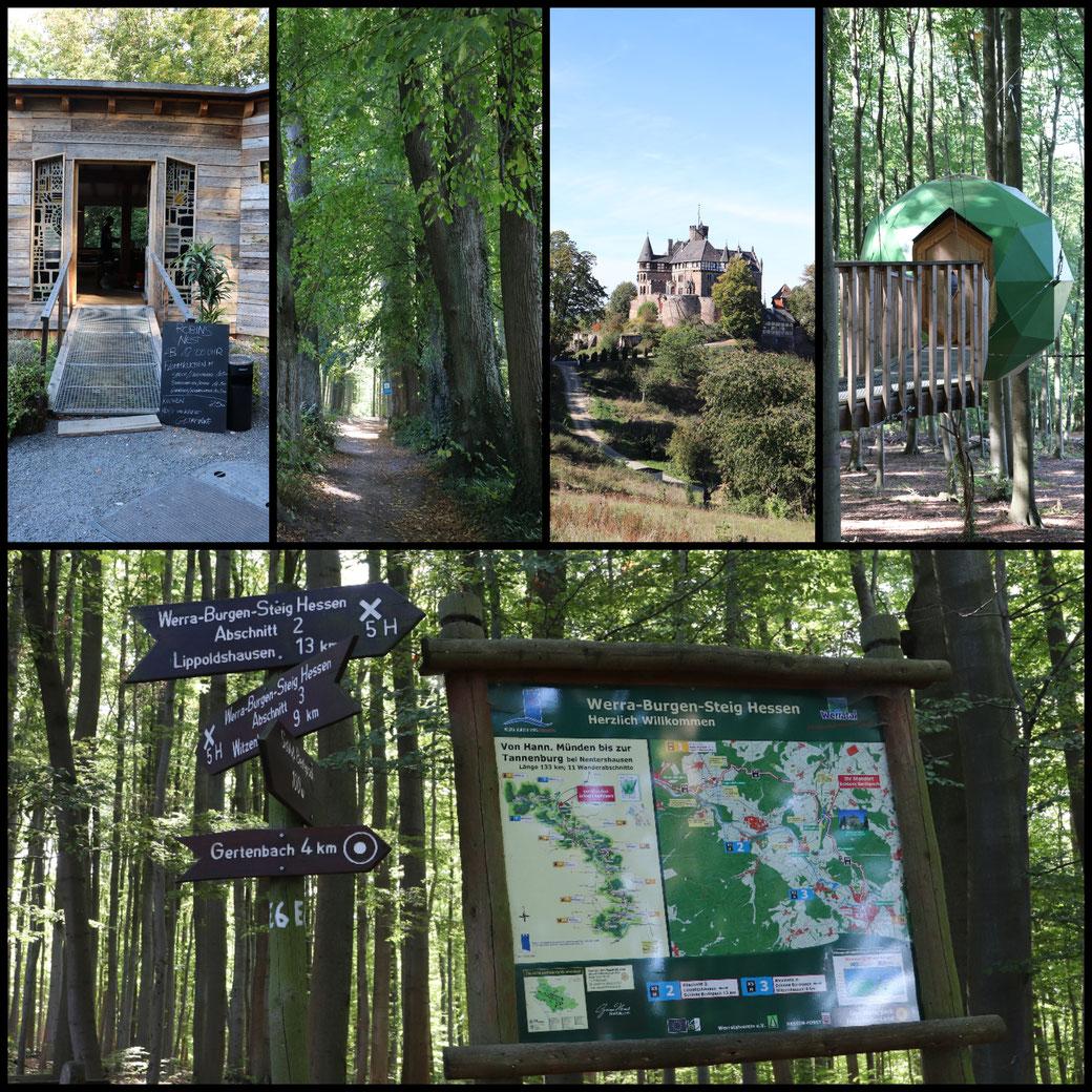 Canon Collage von Schloss  Berlepsch und Robins Nest, ausgezeichnete Wanderwege und alternatives gutes Restaurant!
