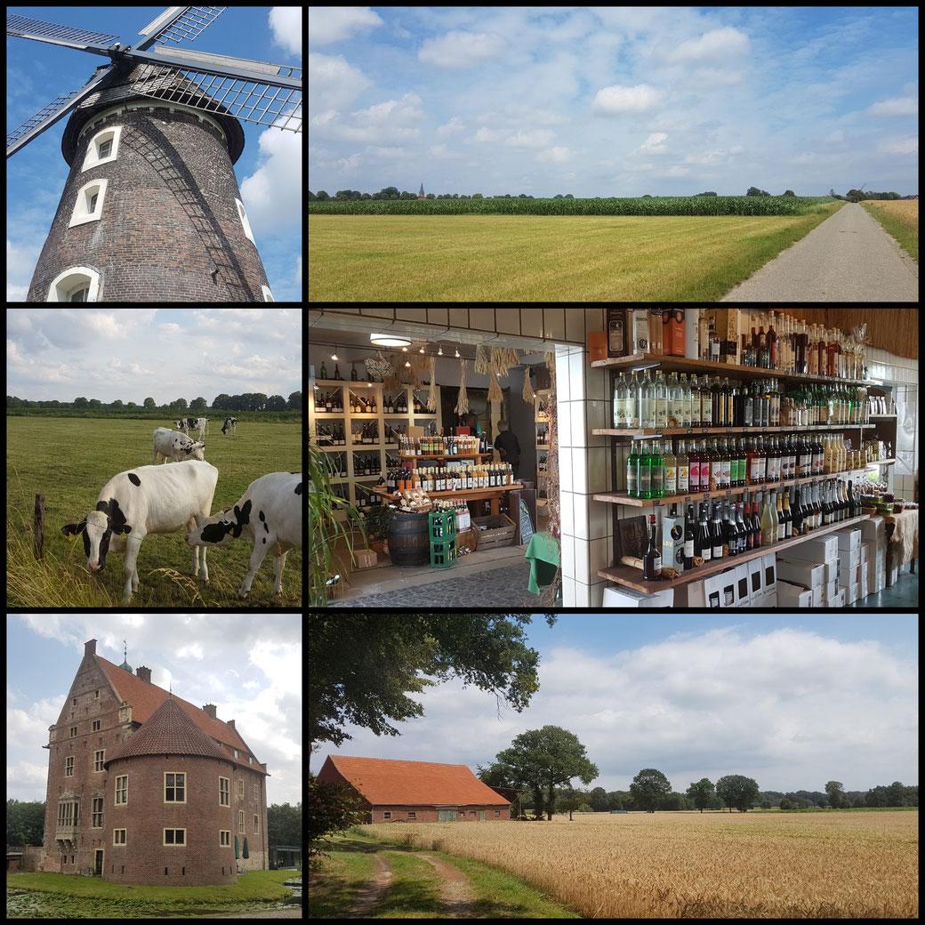 Kleine Collage zu Beginn: Willkommen auf der 3-Flüsse-Route zwischen Schermbeck und Wesel