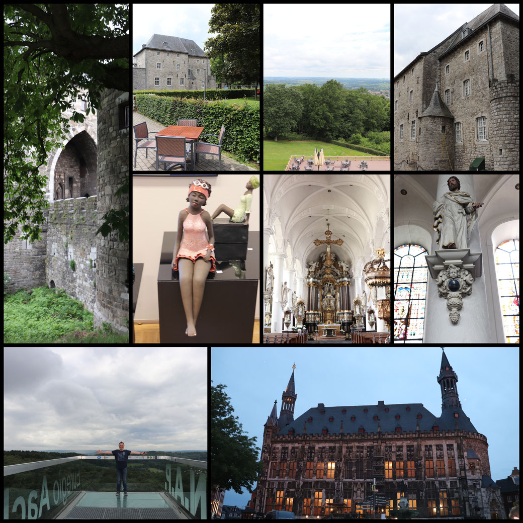 Aachen Rathaus, WIlhelminaturm Vaals, Töpferei Raeren, Burg Raeren, Ponttor