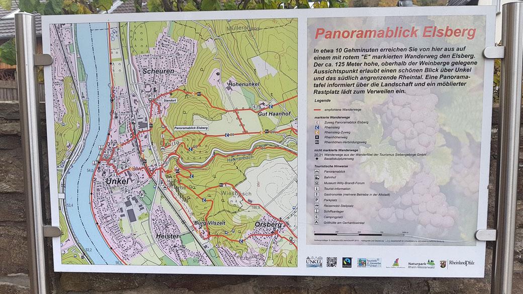 Wanderkarte in Unkel, hier sind der kürzere Einstieg über Hähnerbach und der längere Einstieg über den Panoramablick Elsberg gut zu erkennen - mit einen Doppelklick ins Bild lässt sich die Karte vergrößern!