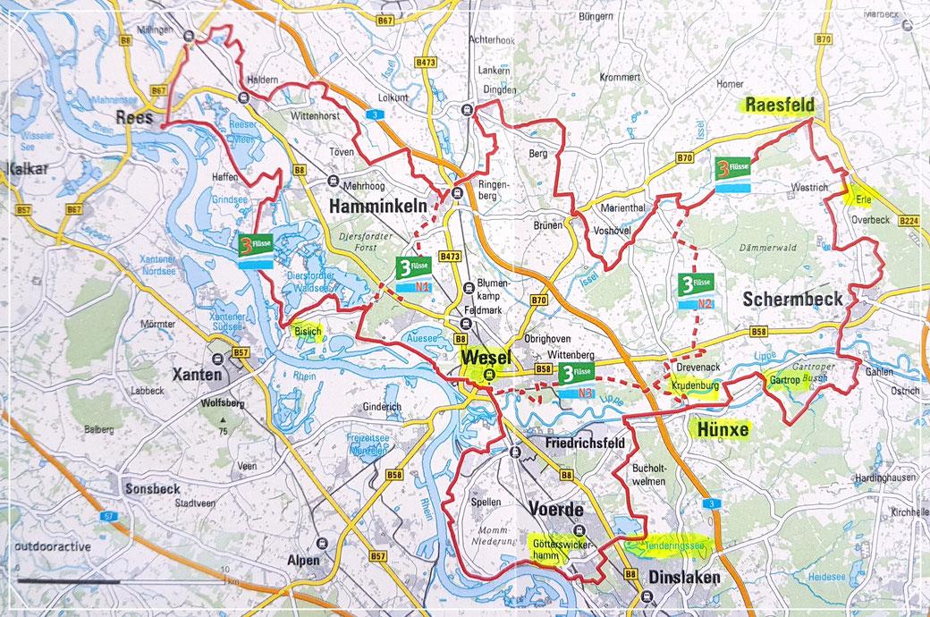 Tourenübersichtskarte 3-Flüsse-Route