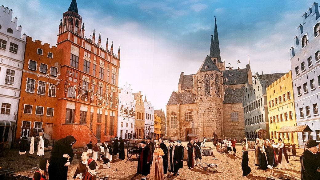Weseler Markt im 16. Jahrhundert, eigene Aufnahme mit freundlicher Genehmigung des LVR-Niederrheinmuseums