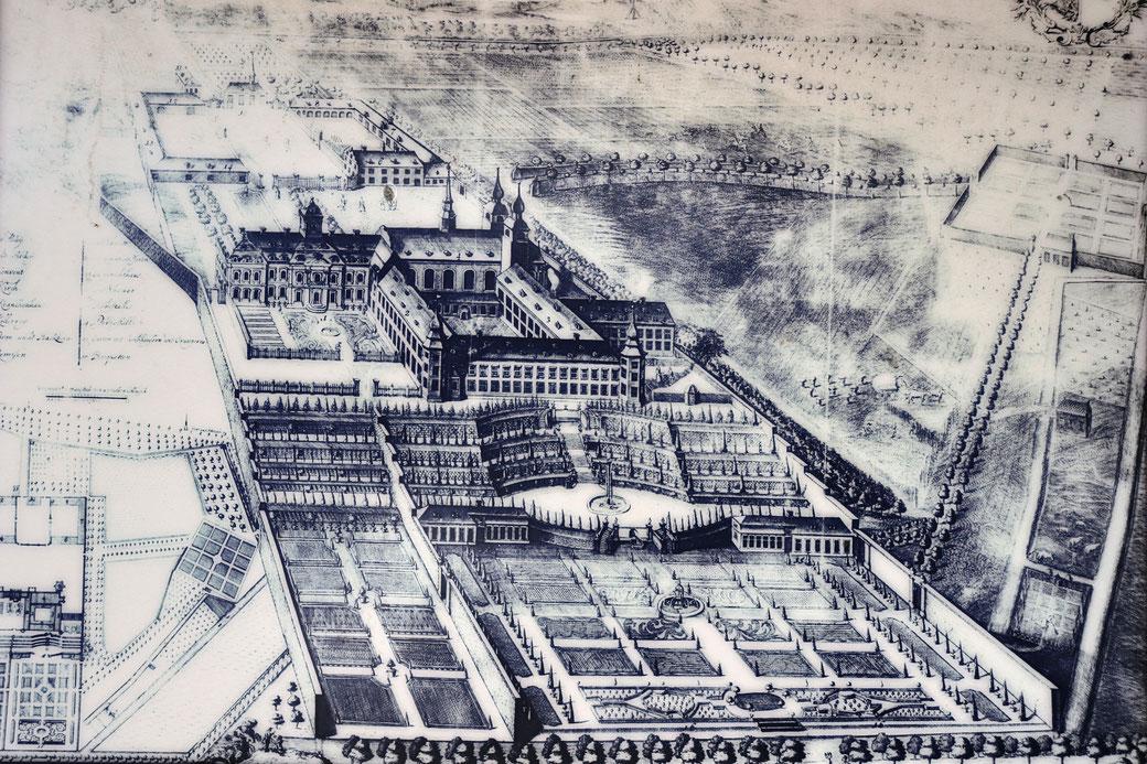 Das frühere Kloster Kamp in seiner prächtigsten Ausdehnung, vor der Zerstörung (Schautafel in der Orangerie des Klostergartens)