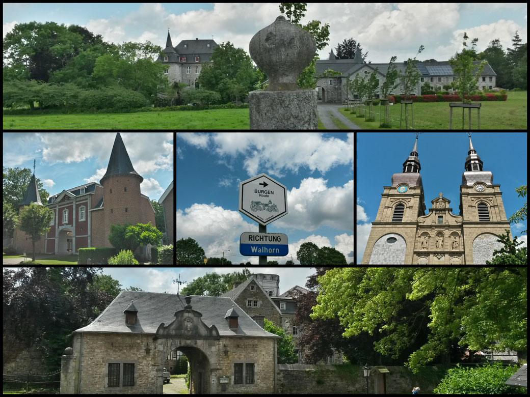 Collage von der Burgenroute: Schloss Libermé (oben), Chateau Thor(unten), Barokkirche Eupen (rechts), Burg Stockem in Eupen (links)
