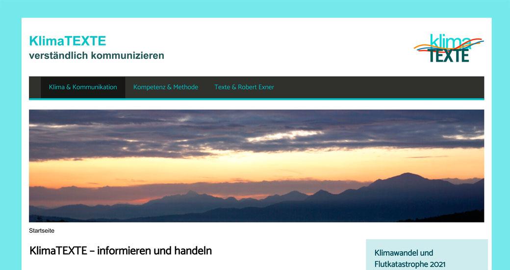 Dies ist ein Screenshot von der neuen Website von KlimaTEXTE, dem neuen grünen Zweig von fundwort