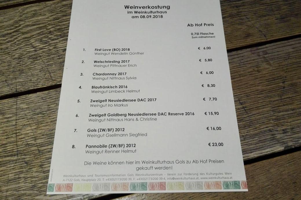 Durch diese Liste probieren wir uns im Weinkulturhaus Gols!