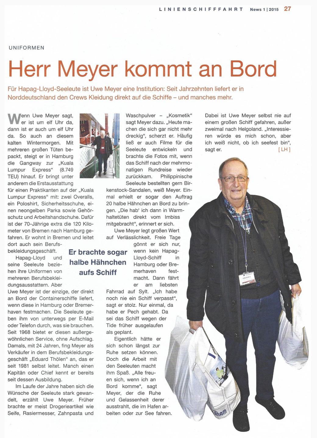 Zeitungsbericht über Uwe Meyer († 2018) aus:  Hapag Lloyd 40. Jahrgang Nr. 365 März 2015