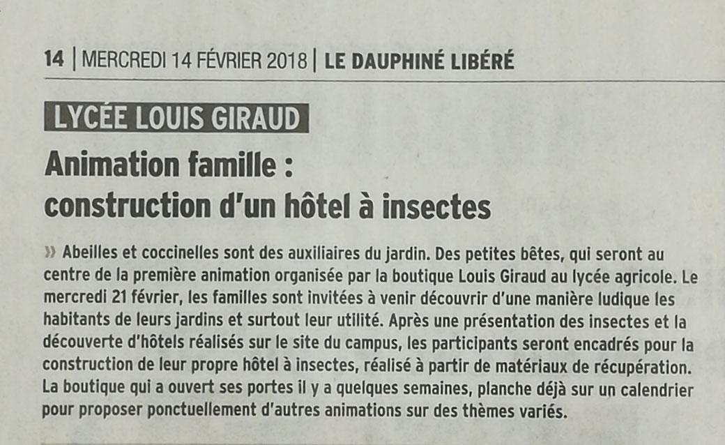 Le Dauphiné Libéré (Vaucluse Matin), le 14 février 2018