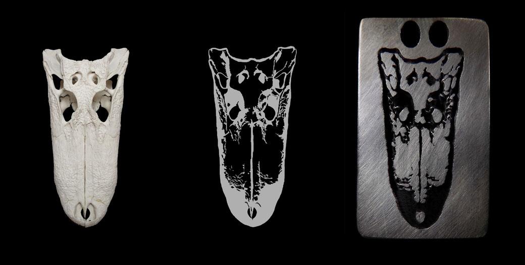 Die Entwicklungsstufen eines Ornito Design mit Alligator Skull