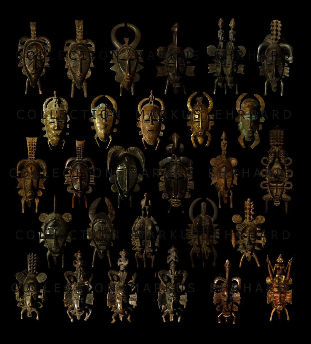 Überblick von Kpelié-Masken der Elfenbeinküste aus dem Buch Wenn Neuordnung Ordnung schafft von Markus Ehrhard