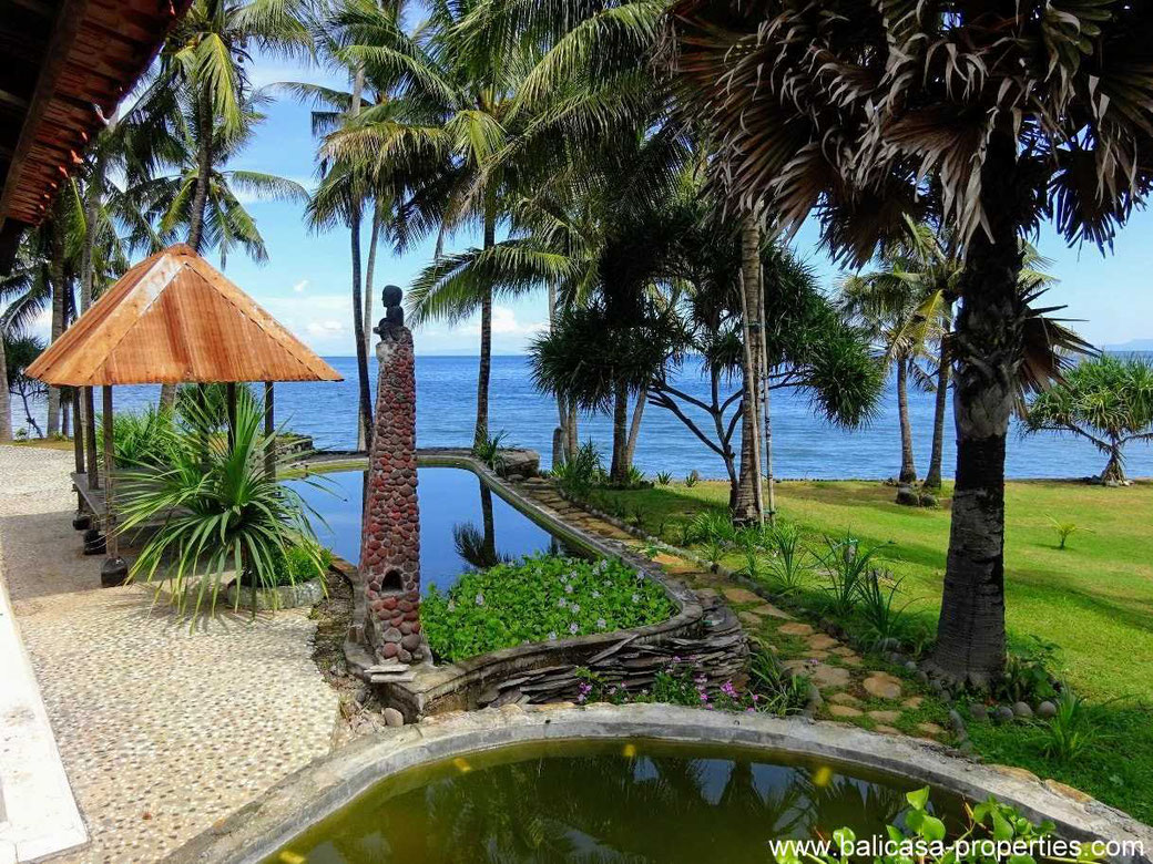 Large beachfront land including bungalows for sale in East Bali.