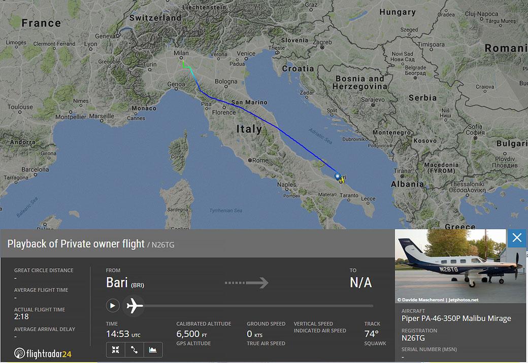 Il volo di oggi, by FlightRadar 24